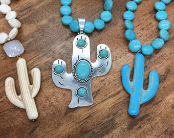 Western Country Girl Turquoise White Silver Cactus Necklace, Southwestern Boho Jewelry, Rodeo Style Pendant, Cowgirl Accessories, Statement