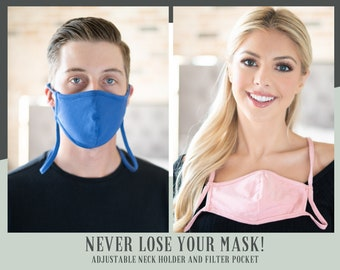 Reusable Washable Breathable Face Mask with Neck Holder Lightweight Easy to Wear Cotton and Spandex with Lanyard and Filter Pocket Built In