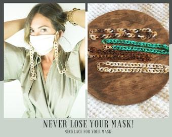 Stylish Lightweight Tortoise Acrylic Curb Chain Mask Lanyard Necklace Holder