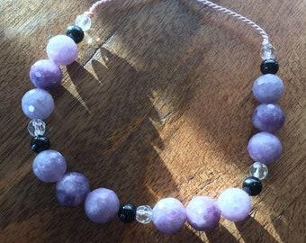 Lepidolite Black Tourmaline and Crystal Quartz Anxiety Bracelet, How to stop anxiety, Anti-Anxiety Tool, Adjustable Bracelet, Chakra Healing