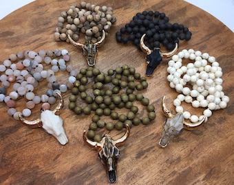 Beaded Western Jewelry,  Boho Style, Texas Longhorns, Cow Skull,  Steer,  Druzy Agate Howlite Southwestern  Layering Necklace, Gift for her