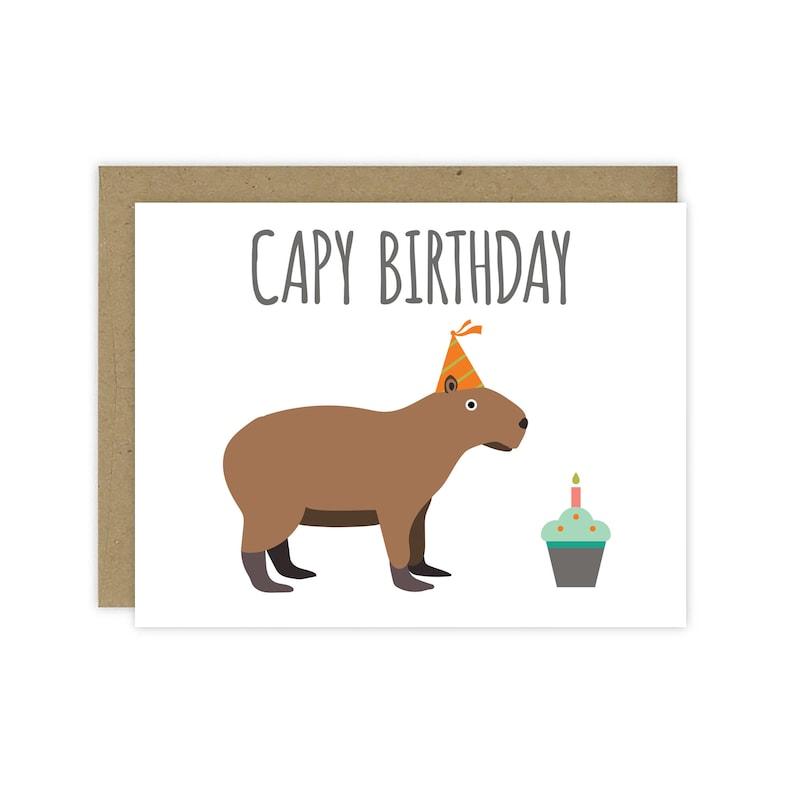 Capy Birthday Capybara Card  Blank Inside image 0
