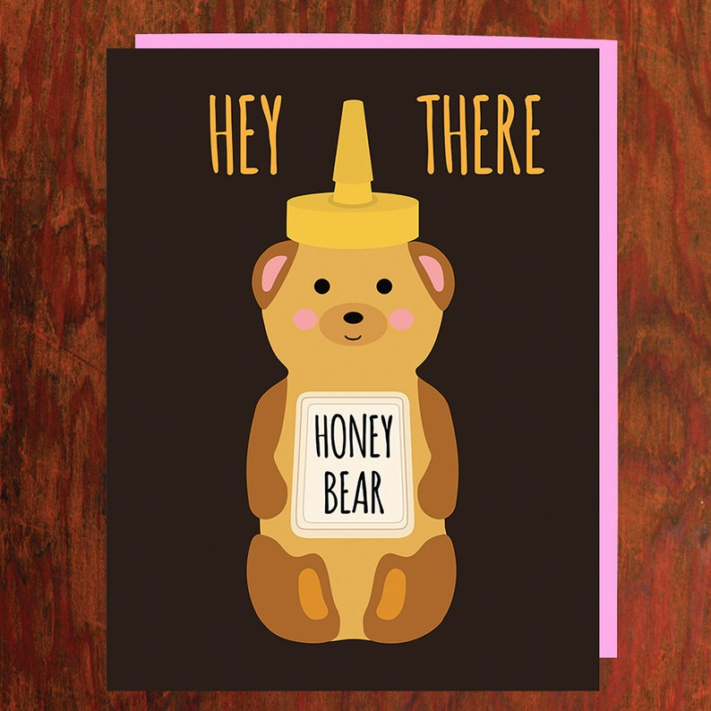 Hey There Honey Bear Card  Blank Inside image 0