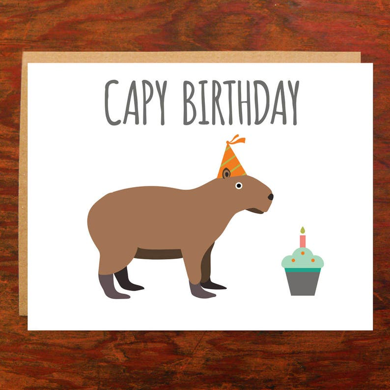 Capy Birthday Capybara Card  Blank Inside image 0