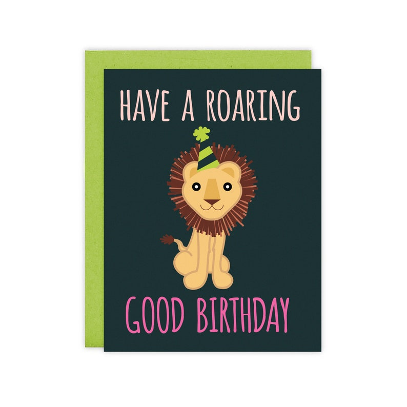 Have A Roaring Good Birthday Lion Card  Blank Inside image 0