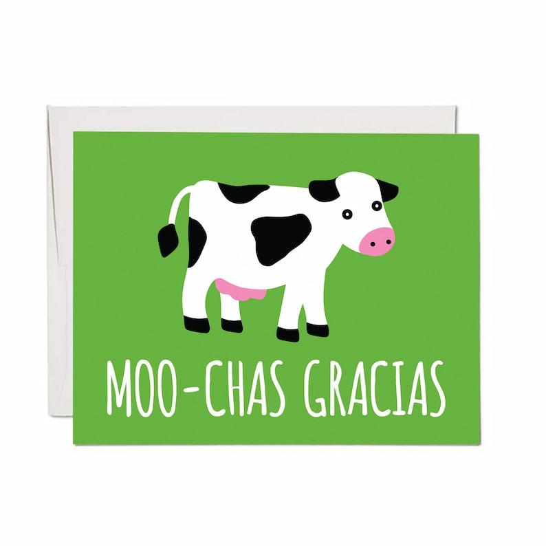 Moo-chas Gracias Card  Blank Inside image 0