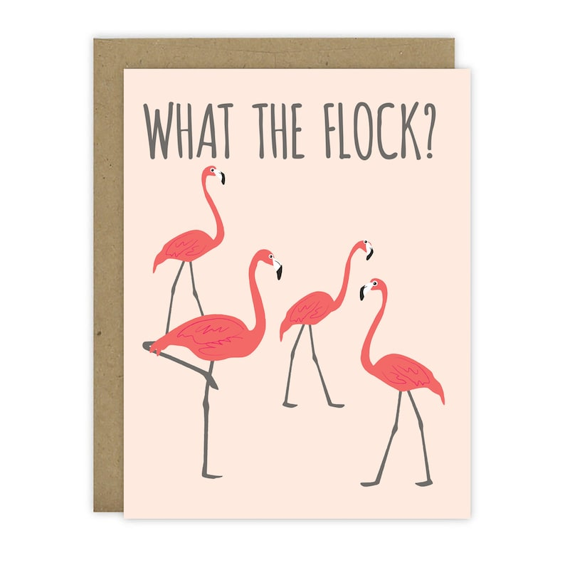 What The Flock Flamingo Card  Blank Inside image 0