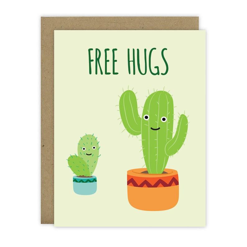 Free Hugs Cactus Card  Blank Inside image 0
