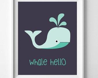 Whale Hello Print 8x10