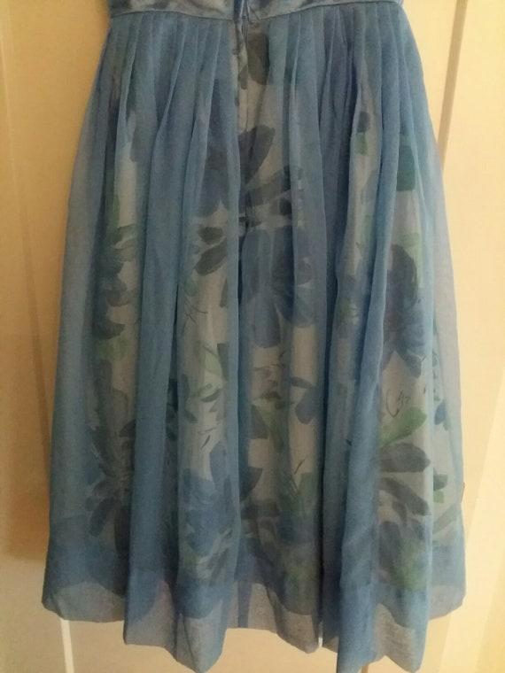 50's Blue Floral & Chiffon Party Dress - image 4