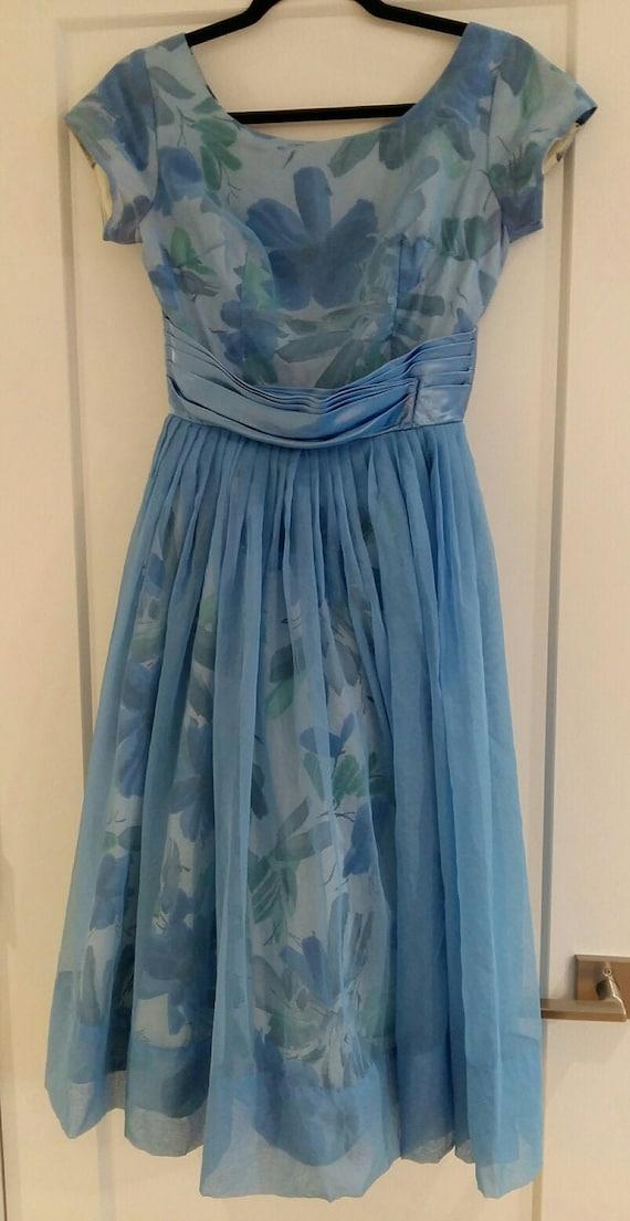 50's Blue Floral & Chiffon Party Dress - image 1