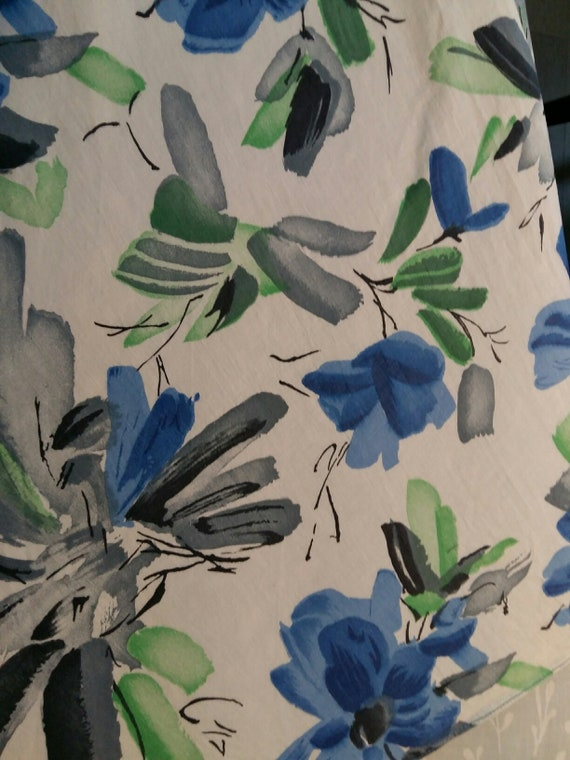 50's Blue Floral & Chiffon Party Dress - image 5