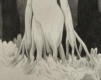 Forest Walker | Original Graphite Drawing
