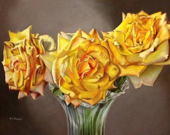 yellow Rose painting, yellow flower picture, wall art yellow flower, yellow flower art, yellow rose art,yellow rose,artwork for sale,realism