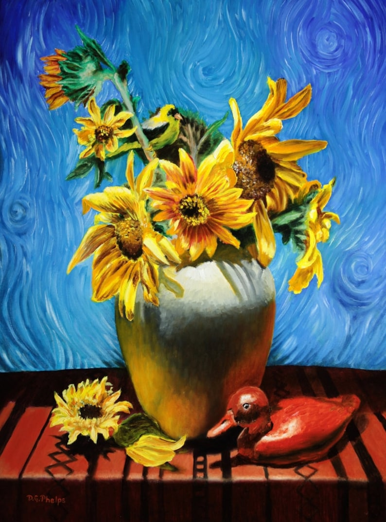 Van Gogh Sunflowers Van Gogh Art Van Gogh Style Sunflower Art Realism Painting Artwork For Sale Flower Artwork Flower Wall Art Realism Art