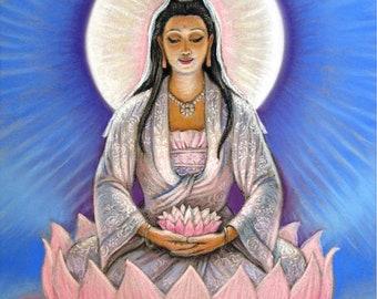 KUAN YIN Pink Lotus Meditation Zen Buddhist Yoga Spiritual Goddess by Sue Halstenberg