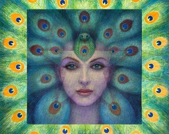 Magic Goddess Isis spiritual art peacock feathers print poster of painting by Sue Halstenberg