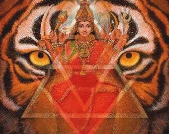 DURGA & TIGER spiritual art poster Hindu Goddess meditation Hinduism print of painting by Sue Halstenberg