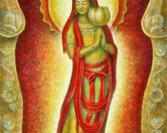 KUAN YIN LOTUS Alcove Female Goddess Zen Buddhist Meditation Spiritual Art Print of Painting by Sue Halstenberg