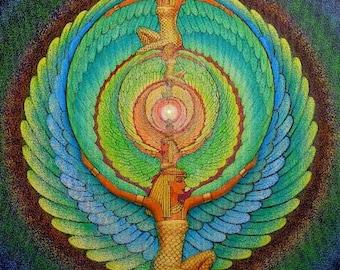 Goddess Isis mandala spiritual art poster magic pagan Egyptian print of painting by Sue Halstenberg