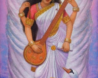 Hindu Goddess Saraswati art spiritual music yoga meditation poster print of painting by Sue Halstenberg