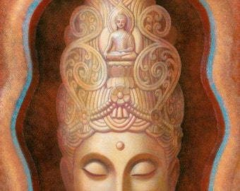 Kuan Yin spiritual art Buddha poster Tibetan Buddhism Goddess Tara print of painting