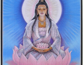 KWAN YIN art Spiritual print Buddha lotus Buddhist Zen Buddhism meditation Goddess