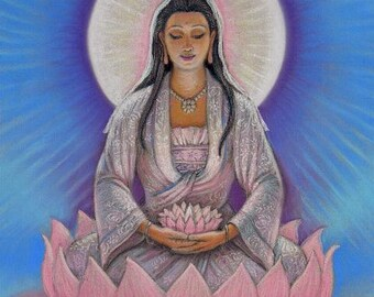 Goddess KUAN YIN female Buddha spiritual art lotus Zen Buddhist meditation Kwan Yin poster print by Sue Halstenberg