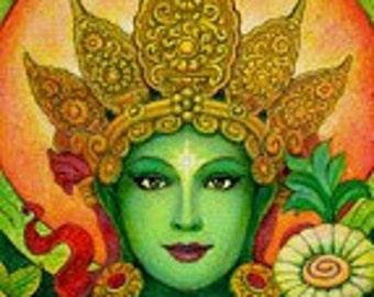 Goddess Green Tara spiritual art Buddha Tibetan Buddhism meditation Buddhist print of painting by Sue Halstenberg