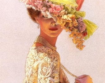 VICTORIA FLOWER HAT Victorian Lady Portrait in Lace Fashion Elegance Art Poster of Painting by Sue Halstenberg