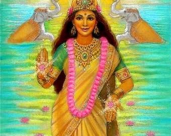 Hindu Goddess Art LAKSHMI elephants abundance India poster Spiritual print of painting by Sue Halstenberg