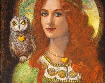 Athena Owl Art Greek Goddess mythology portrait Print of painting by Sue Halstenberg