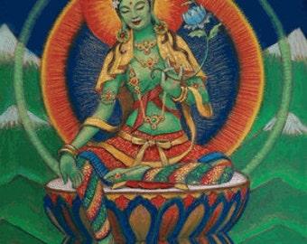 Green Tara Buddha poster spiritual art Tibetan Goddess Buddhism meditation Buddhist print of painting by Sue Halstenberg