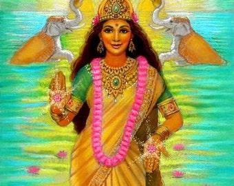 Hindu Goddess LAKSHMI Spiritual Art meditation India elephants print of painting by Sue Halstenberg