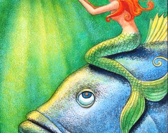 Mermaid art cute fantasy whimsical blue fish print of painting by Sue Halstenberg