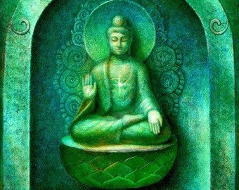 Buddha wall art poster meditation spiritual Zen Buddhist PRINT of painting by Sue Halstenberg
