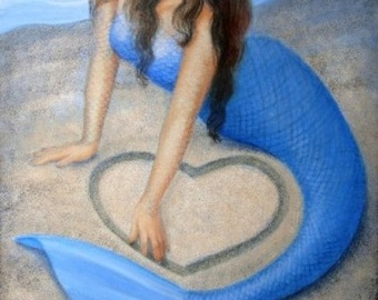 BLUE MERMAID HEART  Beach Fantasy Print Poster Painting Art by Sue Halstenberg