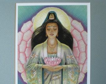Goddess Kuan Yin art spiritual pink lotus heart meditation female Buddha Buddhism print Zen Buddhist 11x14 matted