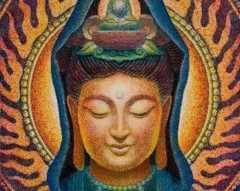 KUAN YIN meditation Spiritual energy Goddess art Buddha Print of painting by Sue Halstenberg