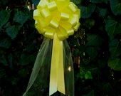 Yellow Pull Bows with Tulle Tails - 8 quot Wide, Set of 6, Easter, Mardi Gras, Reception, Anniversary, School Dance, Wedding Pew Bow, Fundraiser