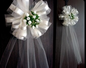 Wedding Aisle Decorations Ivory Tulle Wedding Pull Bows for | Etsy