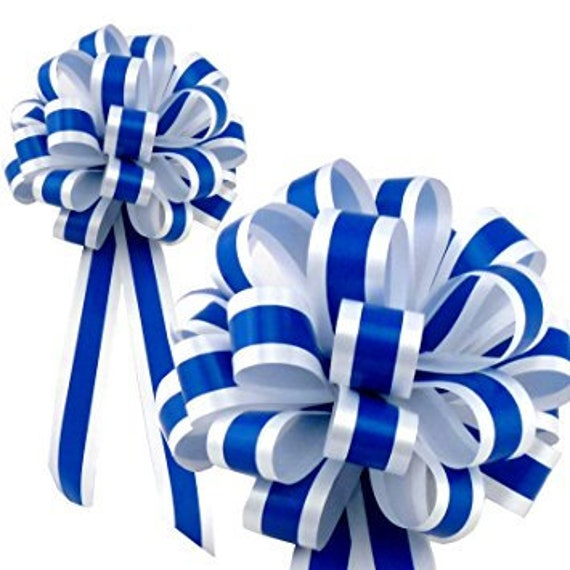 Royal Blue White Striped Wedding Pull Bows With Tails For Church Pews And Chairs Decorations 8 Wide Set Of 6