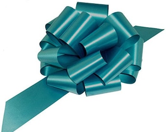 """Teal Pull String Bow Ribbons, 8"""" Wide, Set of 8, Easter (CLOSEOUT)"""