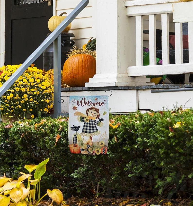 Halloween Home Decor Fall Scarecrow Welcome Garden Flag \u2013 12 x 18 Thanksgiving Decorations Autumn Decor Garden Decor Double Sided