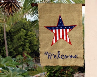 Patriotic Burlap Welcome Garden Flag   4th Of July, Yard Decor, Rustic Lawn  Decorations