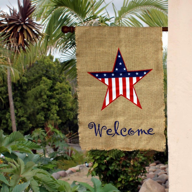 Patriotic Burlap Welcome Garden Flag 4th Of July Yard Decor