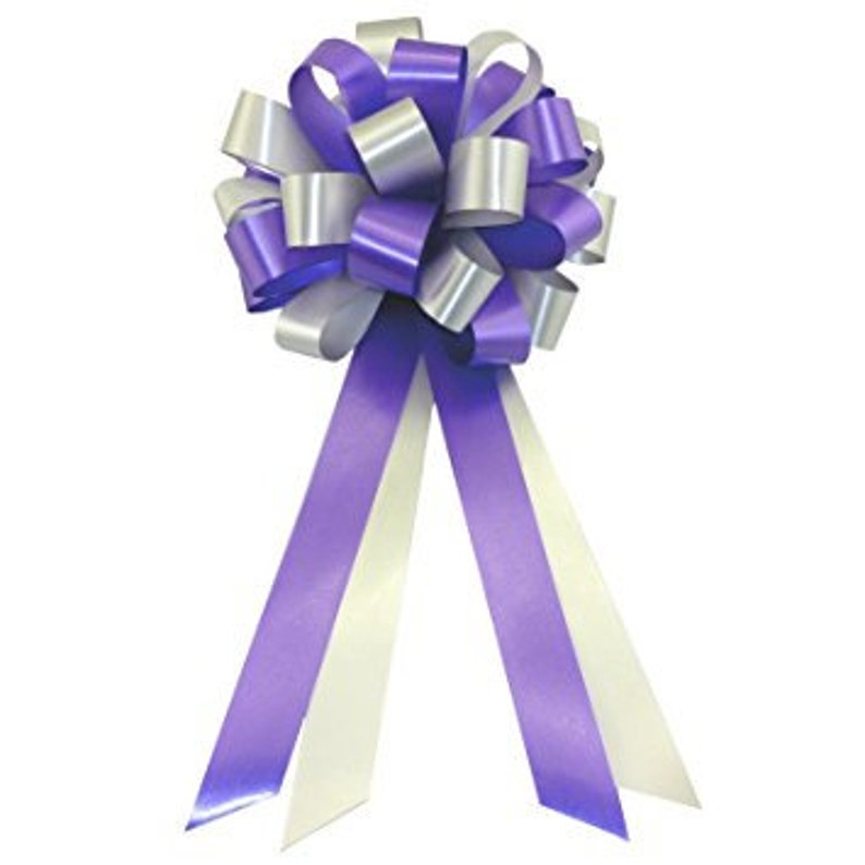 Purple And Silver Pull Bows 8 Wide Set Of 6 Wedding Etsy