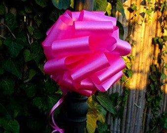"""Fuchsia Pull String Bow Ribbons, 8"""" Wide, Set of 6, Breast Cancer Awareness (CLOSEOUT)"""