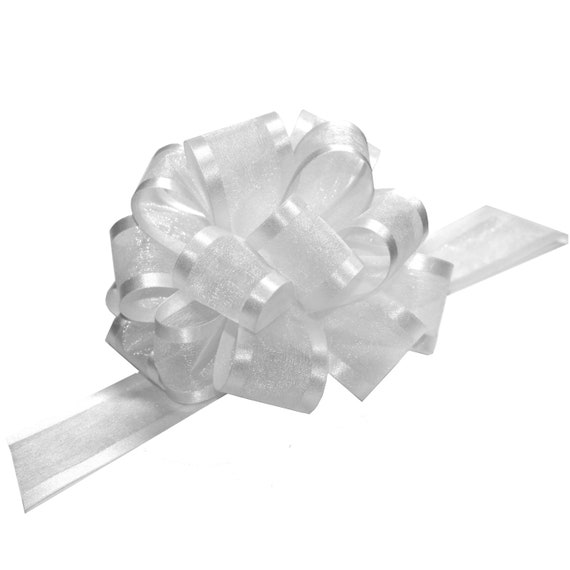 "White Satin 5/"" Pull Bows GIFT WRAP SUPPLIES Gifts Wedding Wreaths~25 BOWS"
