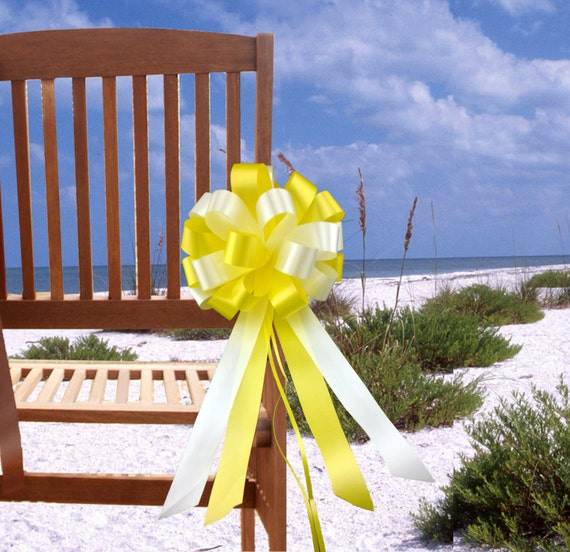 Yellow And White Wedding Pew Pull Bows Decorations 8 Wide Set Of 6